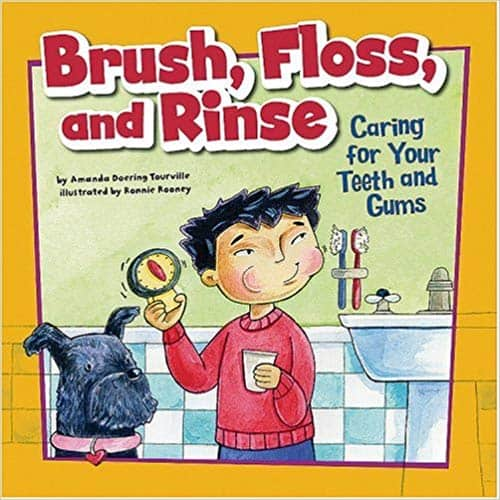brush, floss and rinse children oral health book
