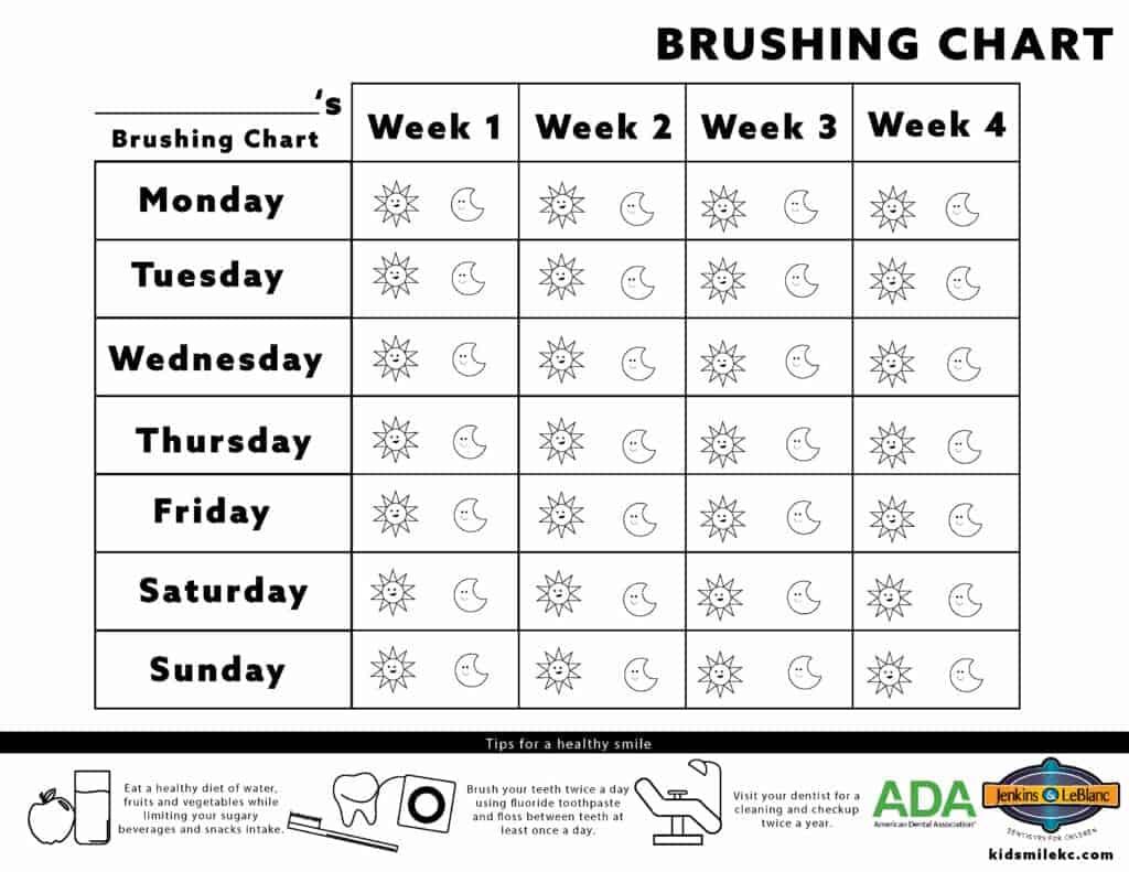 Dental Weekly Calendar Brushing Chart
