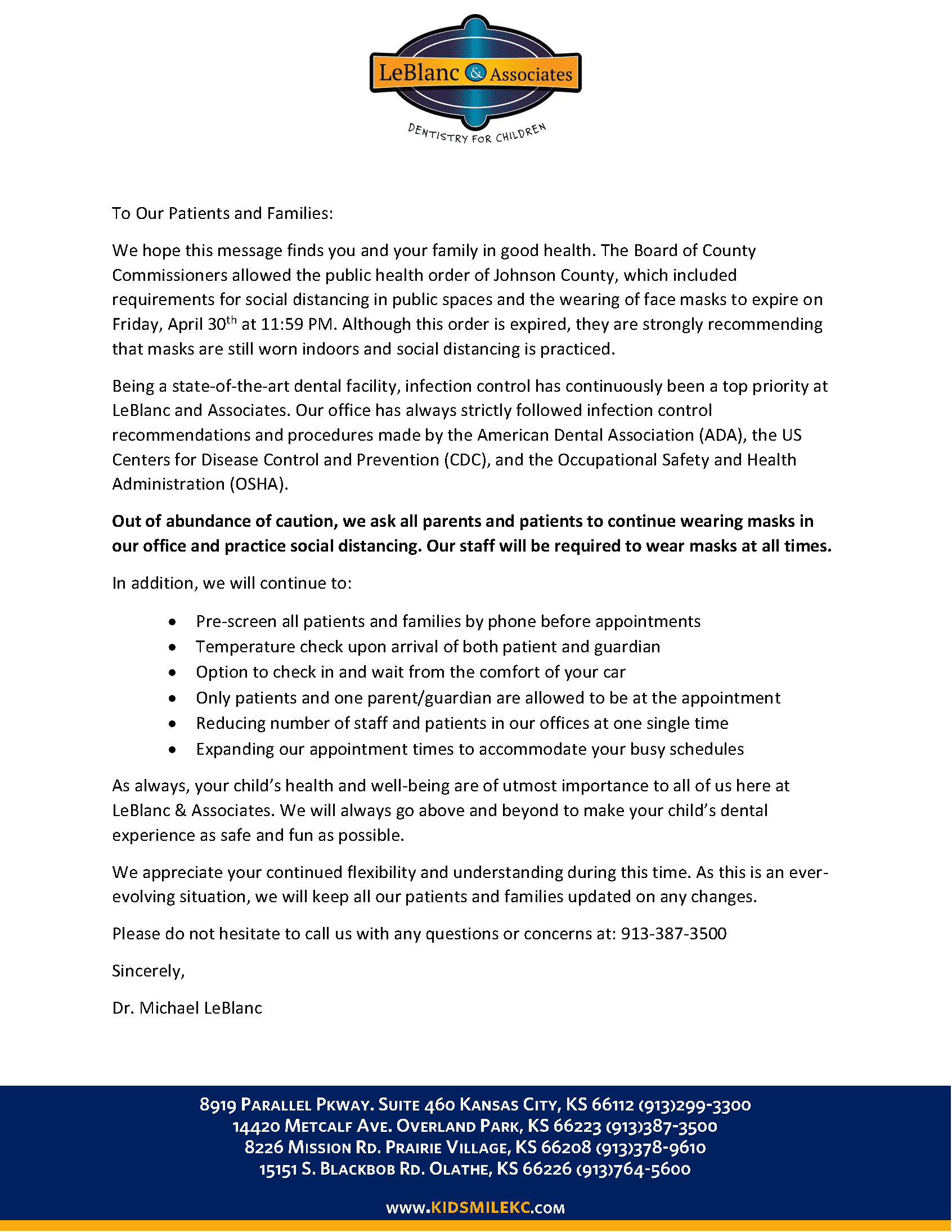 COVID-19 May 3rd, 2021 Update Letter